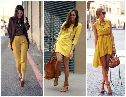 Горчичный цвет в одежде – модные образы