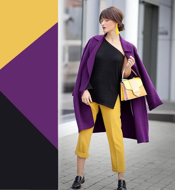 Горчичные брюки с сиреневым пальто
