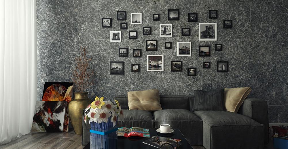 как красиво развесить рамки с фото на стене