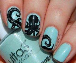 Рисунки на ногтях осминог