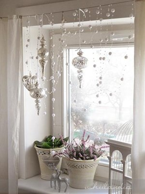 Украшение окна на новый год