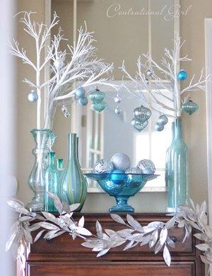 Украшение новогоднего зеркала