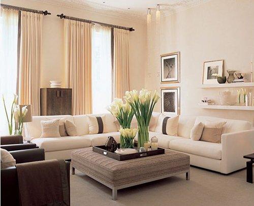 Дизайн гостиной в бежевом цвете