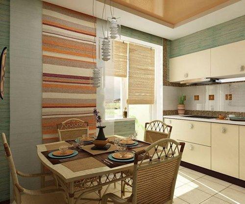 Бежевый интерьер кухни