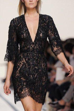 Черное платье кружевное