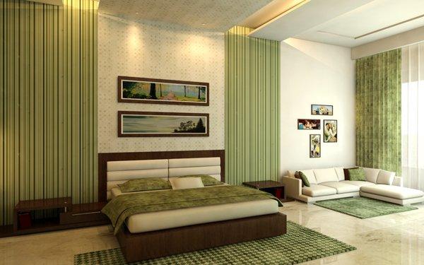 Интерьер в зелено-коричневом цвете