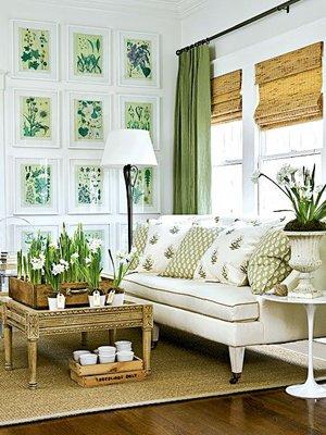 Сочетание белого и зеленого цвета в интерьере