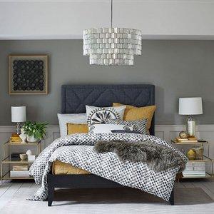 Серый и желтый дизайн спальни