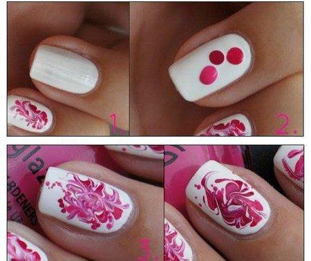Узоры на ногтях лаком и иголкой