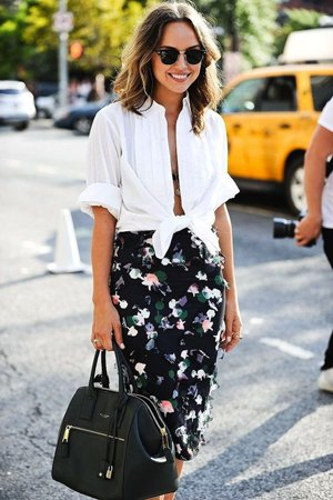 юбка футляр с цветами