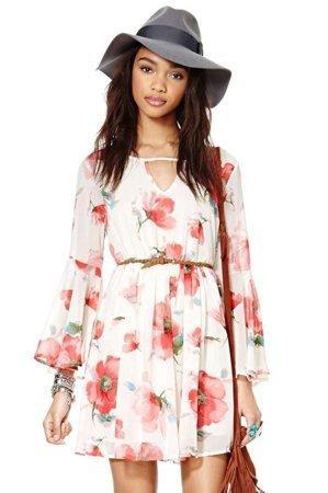 Цветочный принт платье