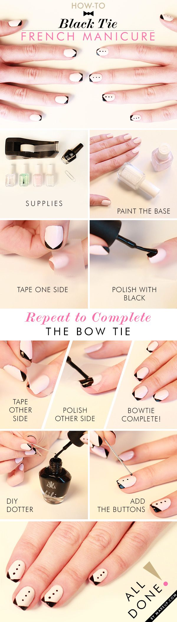 Черно-белые узоры на ногтях