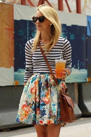 юбка солнце с цветочным принтом
