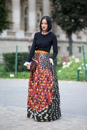 юбка в пол в цветочек