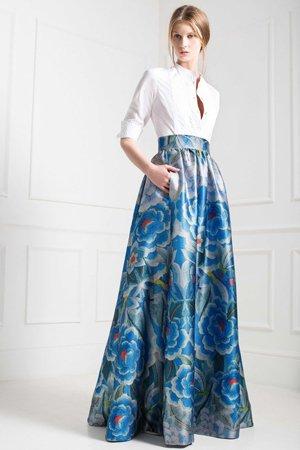 юбка в пол с крупными цветами