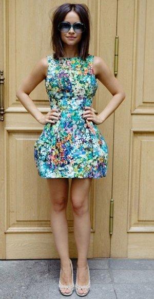 Платье с принтом цветов