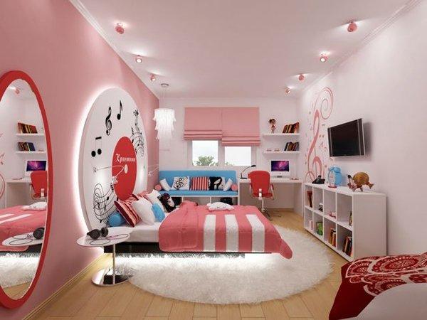 Дизайн детской комнаты в розовом цвете