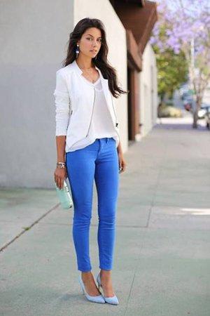 Синие брюки с белым верхом