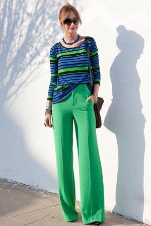 Широкие брюки с завышенной талией