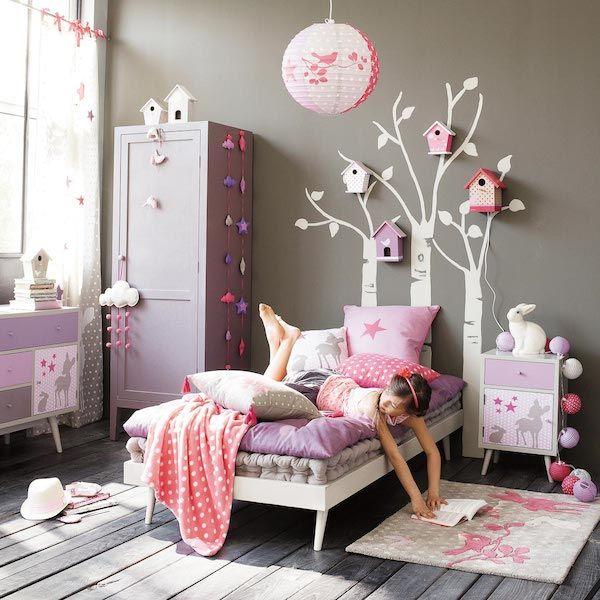 Дизайн детской в серо-розовом цвете