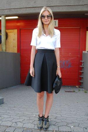 Черная неопреновая юбка