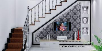 оформление пространства под лестницей
