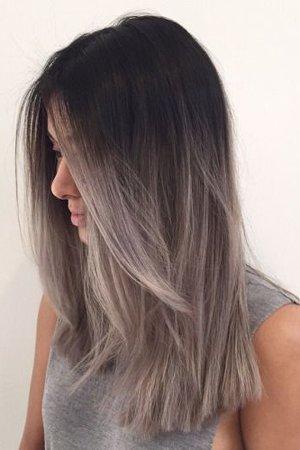 Темные серые волосы с градиентом