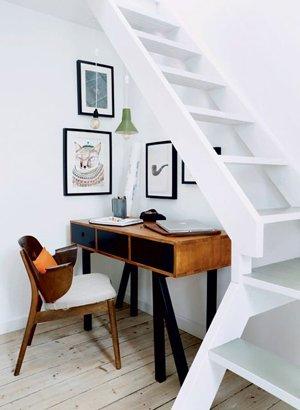 Дизайн рабочего места под лестницей