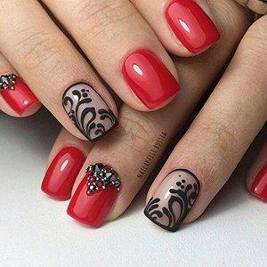 Красно-черный дизайн ногтей