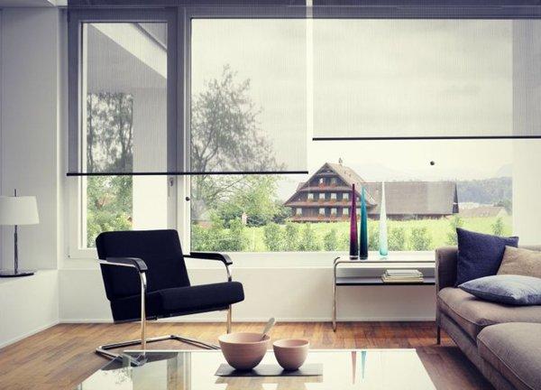 полупрозрачные рулонные шторы в интерьере гостиной