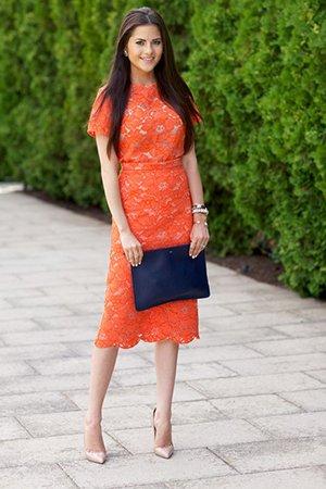 Платье миди цвета лосося