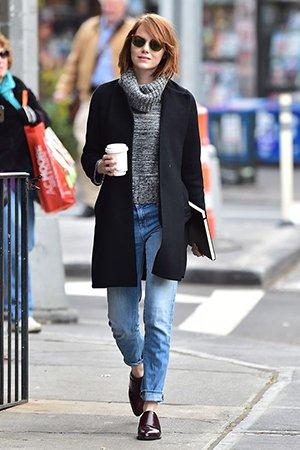 Комплект джинсы и пальто
