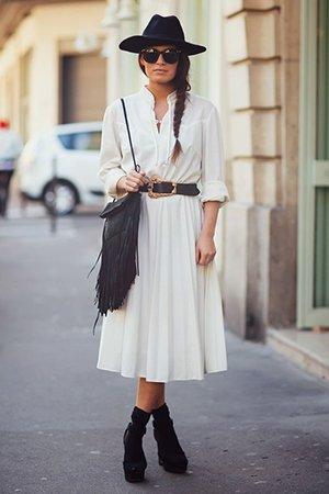 Аксессуары в сочетании с платьем миди