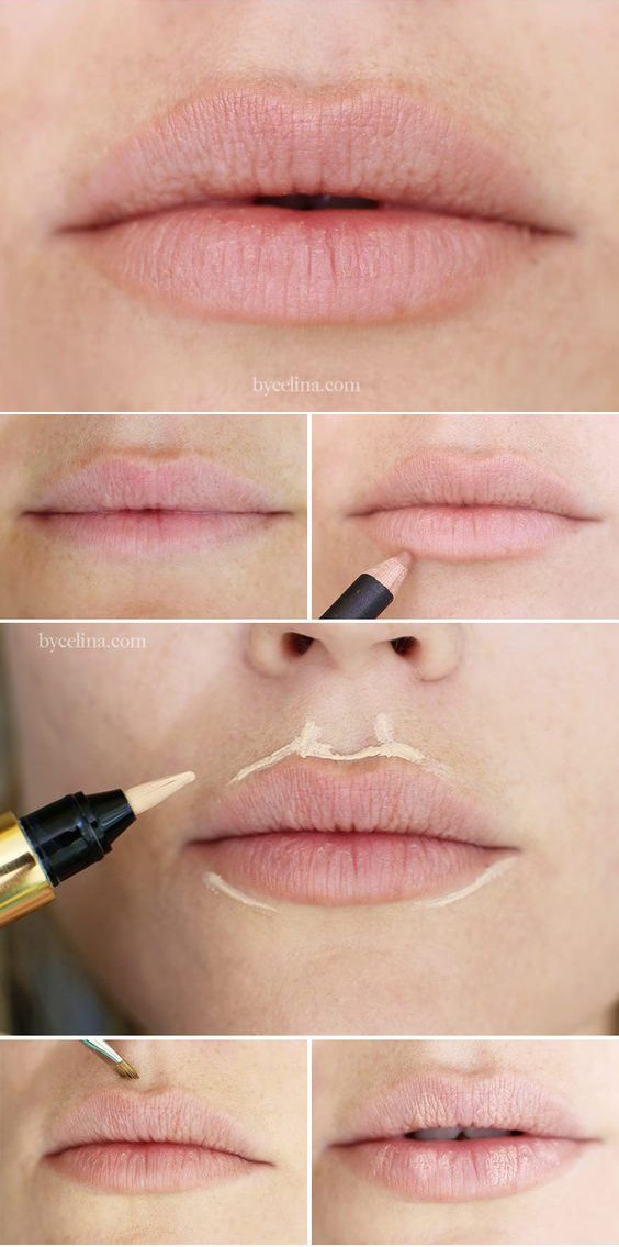 Увеличить губы косметикой