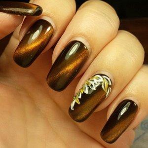 Узор на ногтях кошачий глаз