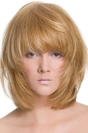 Каскад с челкой на средние волосы
