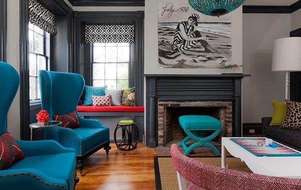 Комната с бирюзовой мебелью