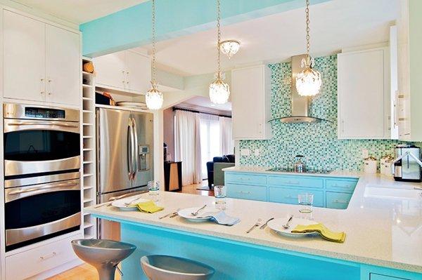 Бирюза в дизайне кухни