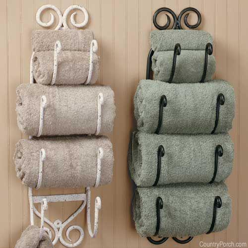 Хранение полотенец на стене в ванной