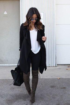 Сочетание ботфортов и узких штанов