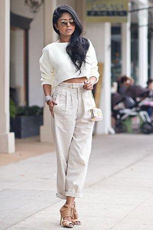 Укороченная кофточка с брюками