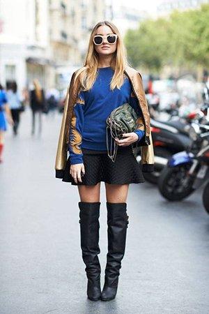 Комплект одежды с кожаными сапогами