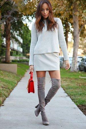 Серые ботфорты на каблуке