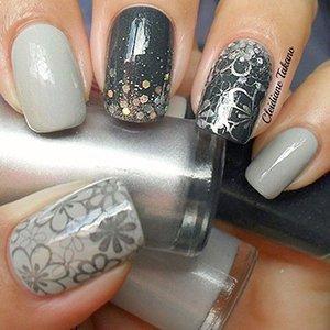 Серый и черный лак на ногтях