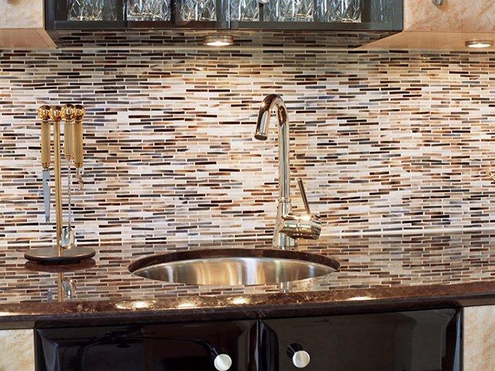 Дизайн фартука для кухни из мозаики