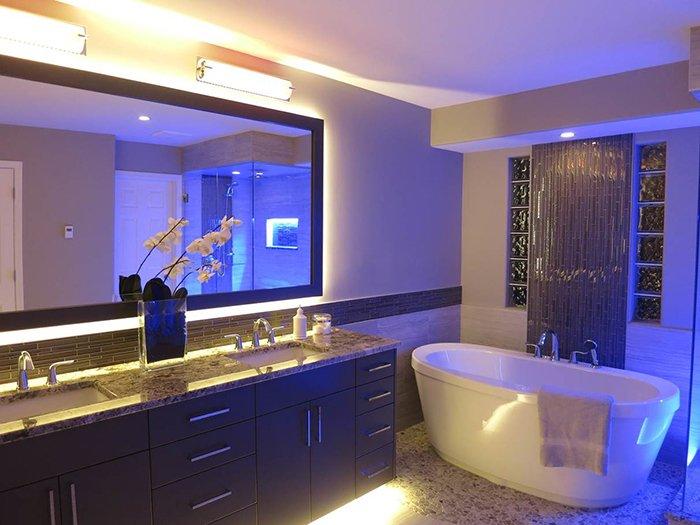 Интимное освещение в ванной