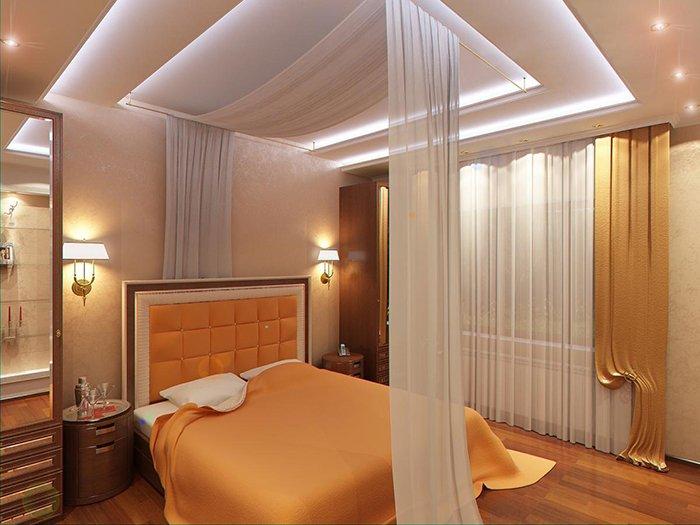 Двухуровневый потолок со светодиодной подсветкой