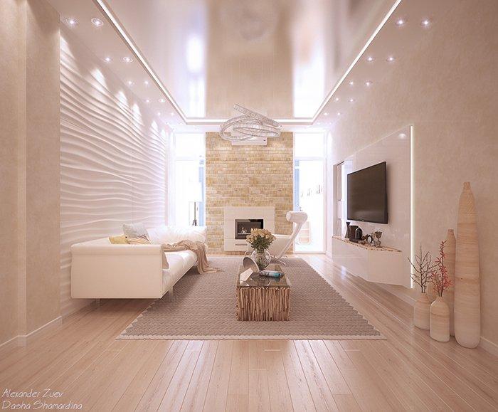 Гостиная со светодиодным освещением