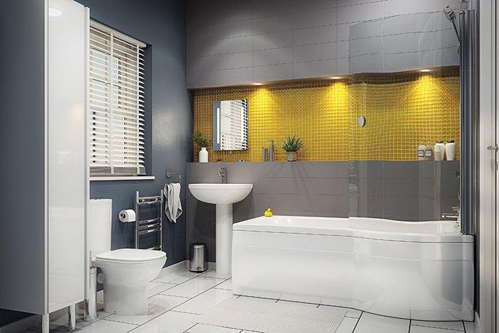 2сочетание серой и желтой плитки в ванной