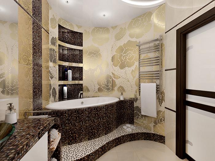 Ванная комната выложенная мозаикой